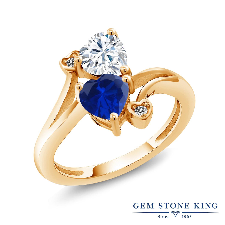 【10%OFF】 Gem Stone King 1.63カラット Forever Brilliant モアサナイト Charles & Colvard シミュレイテッド サファイア 天然 ダイヤモンド 指輪 リング レディース シルバー925 イエローゴールド 加工 モアッサナイト クリスマスプレゼント 女性 彼女 妻 誕生日