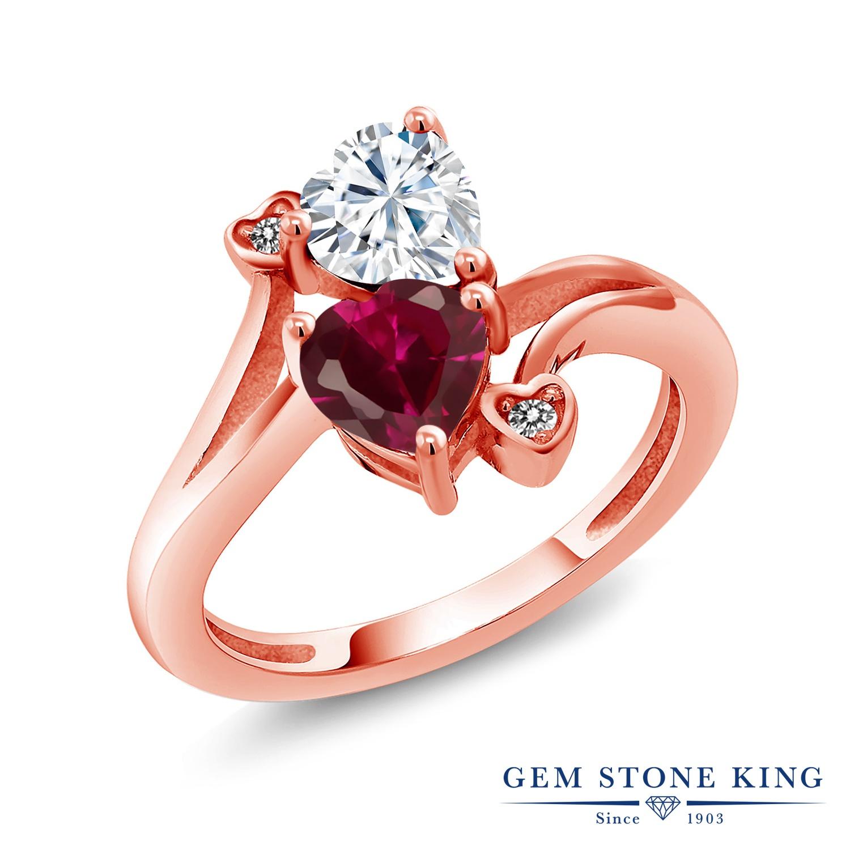 【10%OFF】 Gem Stone King 1.8カラット Forever Brilliant モアサナイト Charles & Colvard 合成ルビー 天然 ダイヤモンド 指輪 リング レディース シルバー925 ピンクゴールド 加工 モアッサナイト クリスマスプレゼント 女性 彼女 妻 誕生日