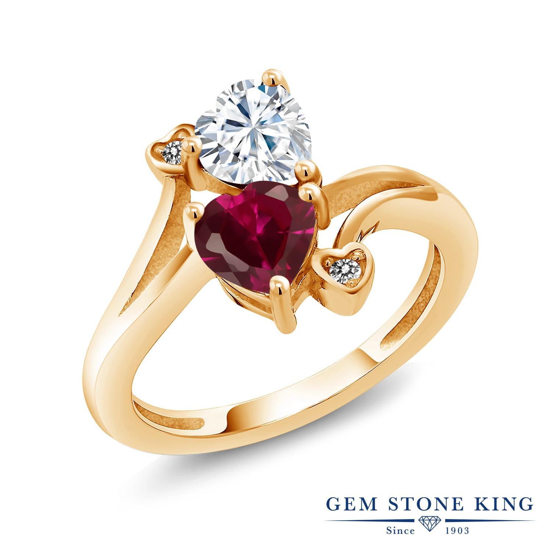 【10%OFF】 Gem Stone King 1.8カラット Forever Brilliant モアサナイト Charles & Colvard 合成ルビー 天然 ダイヤモンド 指輪 リング レディース シルバー925 イエローゴールド 加工 モアッサナイト クリスマスプレゼント 女性 彼女 妻 誕生日