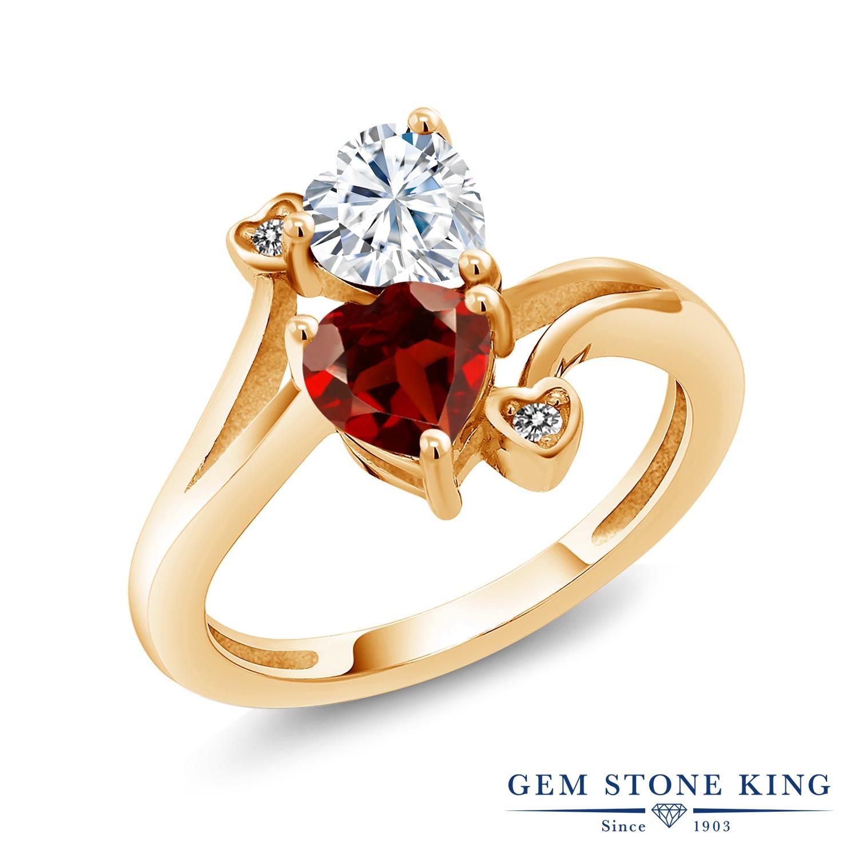 【10%OFF】 Gem Stone King 1.83カラット Forever Brilliant モアサナイト Charles & Colvard 天然 ガーネット ダイヤモンド 指輪 リング レディース シルバー925 イエローゴールド 加工 モアッサナイト クリスマスプレゼント 女性 彼女 妻 誕生日
