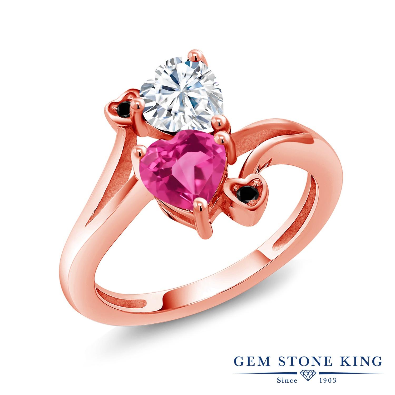Gem Stone King 1.63カラット Forever Brilliant モアサナイト Charles & Colvard 合成ピンクサファイア 天然ブラックダイヤモンド シルバー925 ピンクゴールドコーティング 指輪 リング レディース モアッサナイト 金属アレルギー対応 誕生日プレゼント