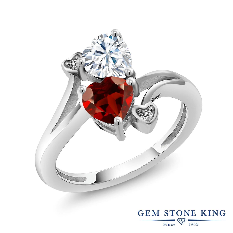 【10%OFF】 Gem Stone King 1.83カラット Forever Brilliant モアサナイト Charles & Colvard 天然 ガーネット ダイヤモンド 指輪 リング レディース シルバー925 モアッサナイト クリスマスプレゼント 女性 彼女 妻 誕生日