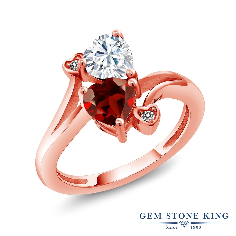 【10%OFF】 Gem Stone King 1.83カラット Forever Brilliant モアサナイト Charles & Colvard 天然 ガーネット ダイヤモンド 指輪 リング レディース シルバー925 ピンクゴールド 加工 モアッサナイト クリスマスプレゼント 女性 彼女 妻 誕生日