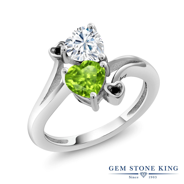Gem Stone King 1.6カラット Forever Brilliant モアサナイト Charles & Colvard 天然石 ペリドット 天然ブラックダイヤモンド シルバー925 指輪 リング レディース モアッサナイト 金属アレルギー対応 誕生日プレゼント