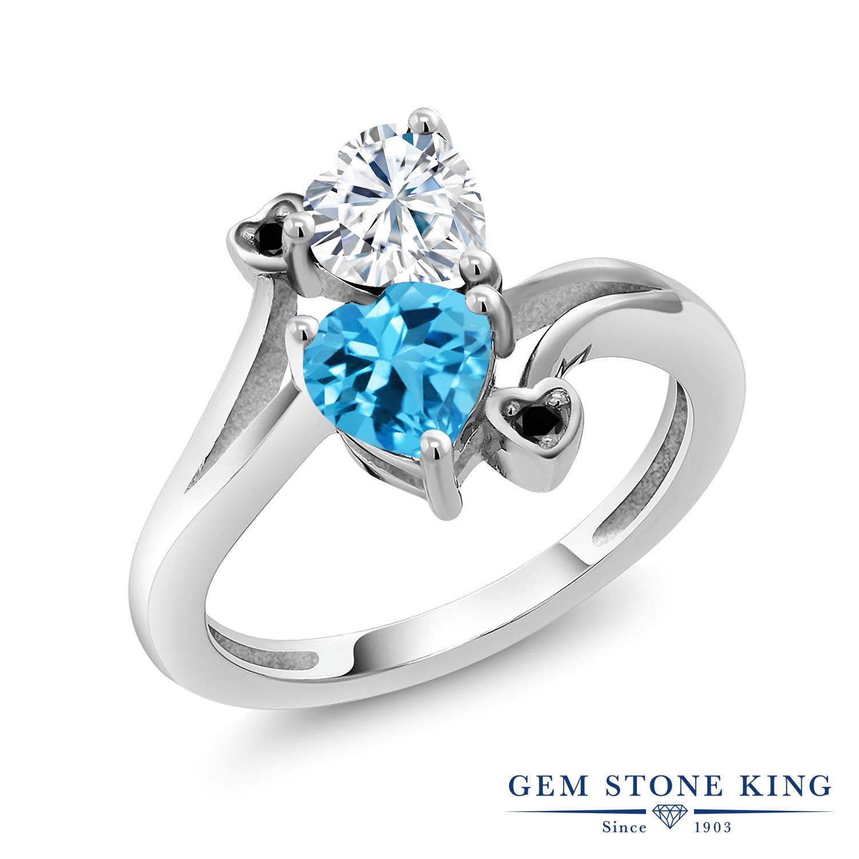 【10%OFF】 Gem Stone King 1.78カラット Forever Brilliant モアサナイト Charles & Colvard 天然 スイスブルートパーズ ブラックダイヤモンド 指輪 リング レディース シルバー925 モアッサナイト クリスマスプレゼント 女性 彼女 妻 誕生日