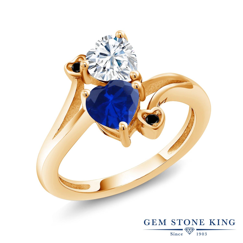Gem Stone King 1.63カラット Forever Brilliant モアサナイト Charles & Colvard シミュレイテッド サファイア 天然ブラックダイヤモンド シルバー925 イエローゴールドコーティング 指輪 リング レディース モアッサナイト 金属アレルギー対応 誕生日プレゼント