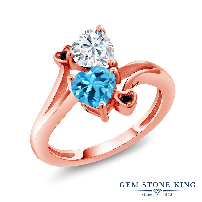 【10%OFF】 Gem Stone King 1.78カラット Forever Brilliant モアサナイト Charles & Colvard 天然 スイスブルートパーズ ブラックダイヤモンド 指輪 リング レディース シルバー925 ピンクゴールド 加工 モアッサナイト クリスマスプレゼント 女性 彼女 妻 誕生日