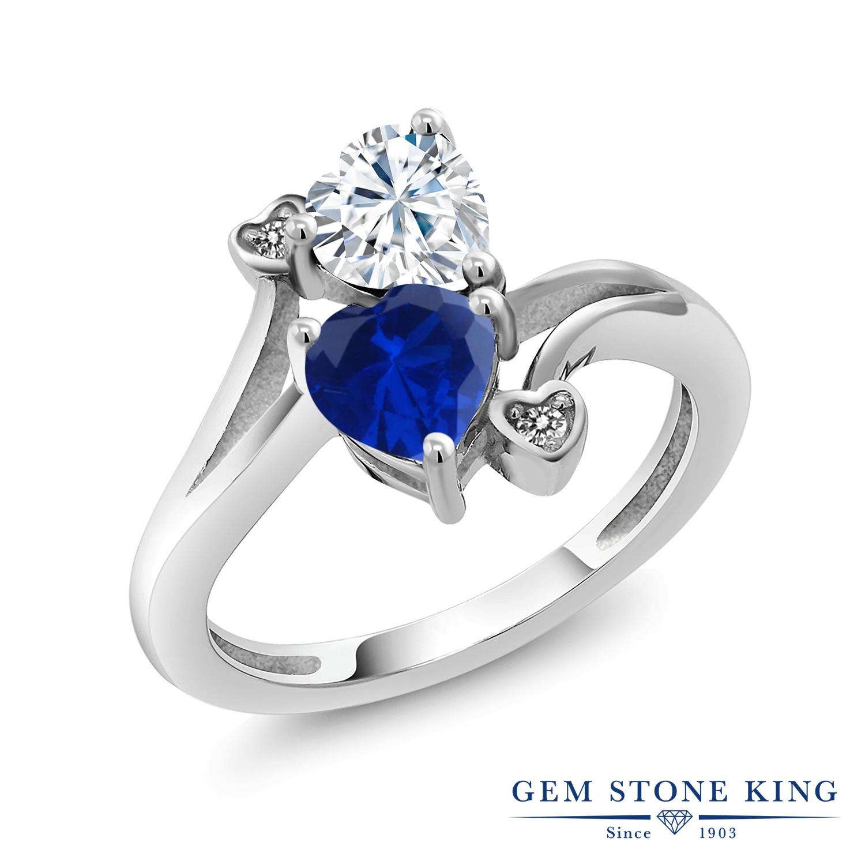 【10%OFF】 Gem Stone King 1.63カラット Forever Brilliant モアサナイト Charles & Colvard シミュレイテッド サファイア 天然 ダイヤモンド 指輪 リング レディース シルバー925 モアッサナイト クリスマスプレゼント 女性 彼女 妻 誕生日