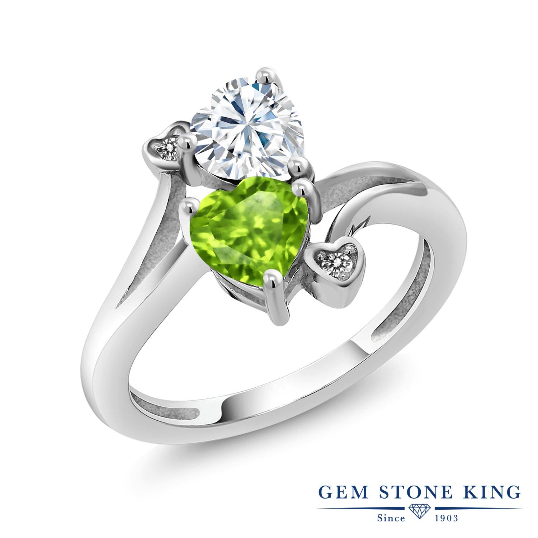 【10%OFF】 Gem Stone King 1.6カラット Forever Brilliant モアサナイト Charles & Colvard 天然石 ペリドット 天然 ダイヤモンド 指輪 リング レディース シルバー925 モアッサナイト クリスマスプレゼント 女性 彼女 妻 誕生日