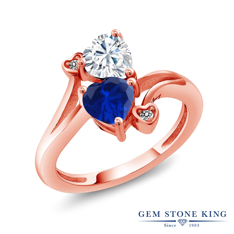 【10%OFF】 Gem Stone King 1.63カラット Forever Brilliant モアサナイト Charles & Colvard シミュレイテッド サファイア 天然 ダイヤモンド 指輪 リング レディース シルバー925 ピンクゴールド 加工 モアッサナイト クリスマスプレゼント 女性 彼女 妻 誕生日
