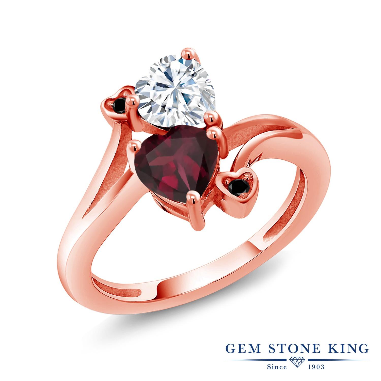 Gem Stone King 1.55カラット Forever Brilliant モアサナイト Charles & Colvard 天然 ロードライトガーネット 天然ブラックダイヤモンド シルバー925 ピンクゴールドコーティング 指輪 リング レディース モアッサナイト 金属アレルギー対応 誕生日プレゼント