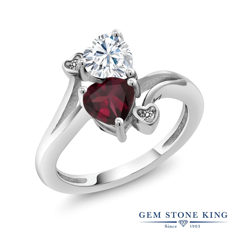 【10%OFF】 Gem Stone King 1.55カラット Forever Brilliant モアサナイト Charles & Colvard 天然 ロードライトガーネット ダイヤモンド 指輪 リング レディース シルバー925 モアッサナイト クリスマスプレゼント 女性 彼女 妻 誕生日