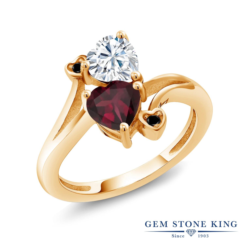 【10%OFF】 Gem Stone King 1.55カラット Forever Brilliant モアサナイト Charles & Colvard 天然 ロードライトガーネット ブラックダイヤモンド 指輪 リング レディース シルバー925 イエローゴールド 加工 モアッサナイト クリスマスプレゼント 女性 彼女 妻 誕生日