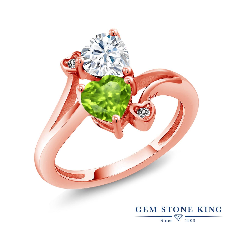 Gem Stone King 1.6カラット Forever Brilliant モアサナイト Charles & Colvard 天然石 ペリドット 天然 ダイヤモンド シルバー925 ピンクゴールドコーティング 指輪 リング レディース モアッサナイト 金属アレルギー対応 誕生日プレゼント