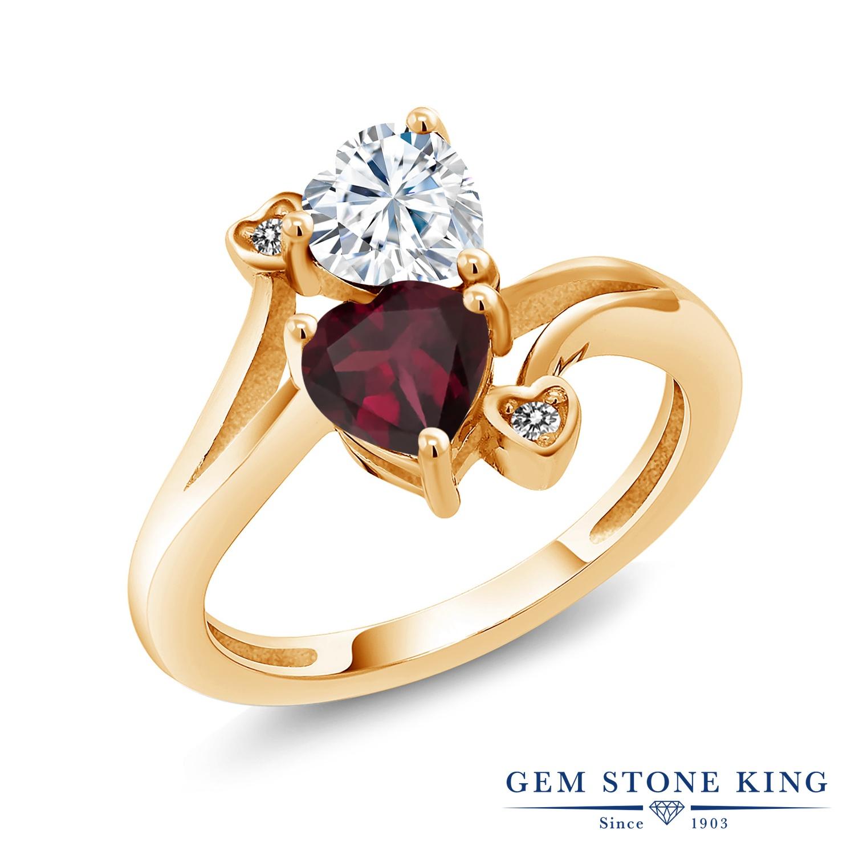Gem Stone King 1.55カラット Forever Brilliant モアサナイト Charles & Colvard 天然 ロードライトガーネット 天然 ダイヤモンド シルバー925 イエローゴールドコーティング 指輪 リング レディース モアッサナイト 金属アレルギー対応 誕生日プレゼント