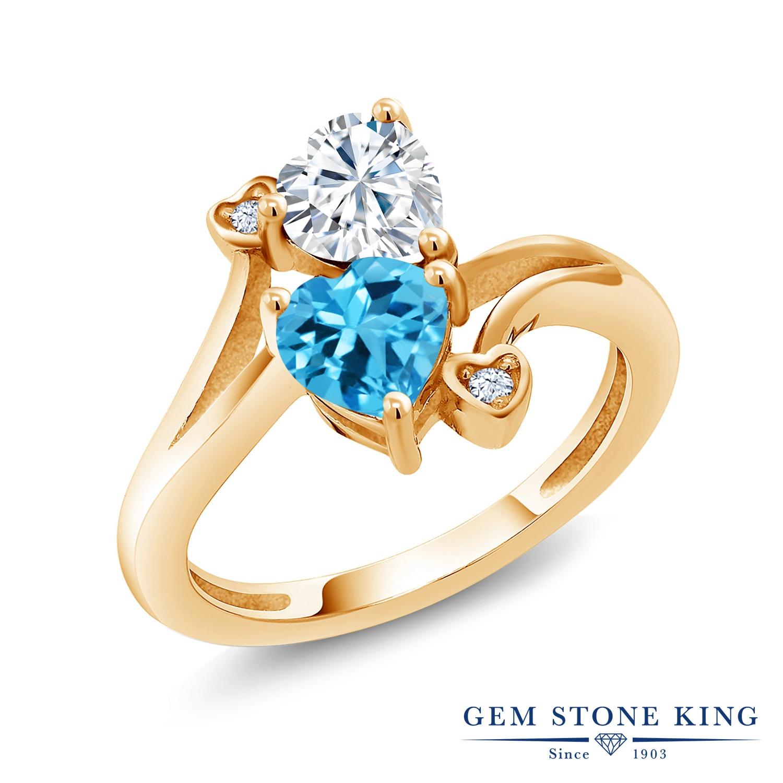 Gem Stone King 1.78カラット Forever Brilliant モアサナイト Charles & Colvard 天然 スイスブルートパーズ シルバー925 イエローゴールドコーティング 指輪 リング レディース モアッサナイト 金属アレルギー対応 誕生日プレゼント