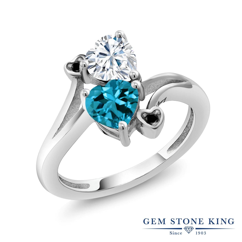 【10%OFF】 Gem Stone King 1.78カラット Forever Brilliant モアサナイト Charles & Colvard 天然 ロンドンブルートパーズ ブラックダイヤモンド 指輪 リング レディース シルバー925 モアッサナイト クリスマスプレゼント 女性 彼女 妻 誕生日