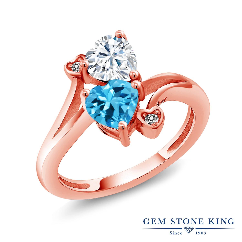 Gem Stone King 1.78カラット Forever Brilliant モアサナイト Charles & Colvard 天然 スイスブルートパーズ 天然 ダイヤモンド シルバー925 ピンクゴールドコーティング 指輪 リング レディース モアッサナイト 金属アレルギー対応 誕生日プレゼント