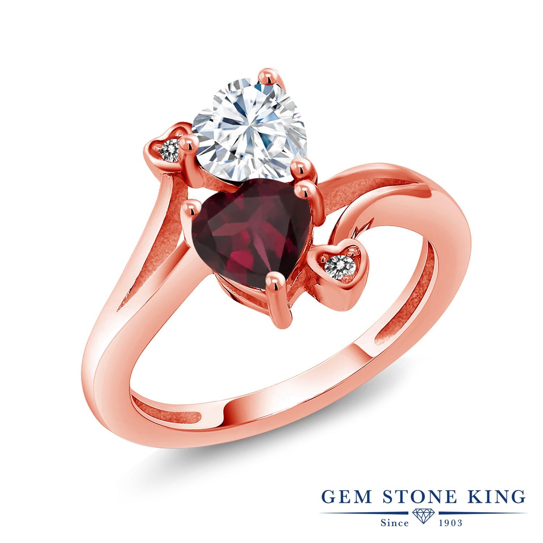 【10%OFF】 Gem Stone King 1.55カラット Forever Brilliant モアサナイト Charles & Colvard 天然 ロードライトガーネット ダイヤモンド 指輪 リング レディース シルバー925 ピンクゴールド 加工 モアッサナイト クリスマスプレゼント 女性 彼女 妻 誕生日
