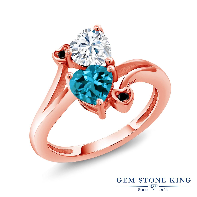 【10%OFF】 Gem Stone King 1.78カラット Forever Brilliant モアサナイト Charles & Colvard 天然 ロンドンブルートパーズ ブラックダイヤモンド 指輪 リング レディース シルバー925 ピンクゴールド 加工 モアッサナイト プレゼント 女性 彼女 誕生日 クリスマス