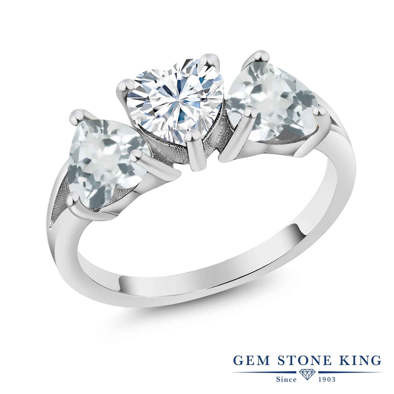【10%OFF】 Gem Stone King 2.26カラット Forever Brilliant モアサナイト Charles & Colvard 天然 アクアマリン 指輪 リング レディース シルバー925 モアッサナイト シンプル スリーストーン クリスマスプレゼント 女性 彼女 妻 誕生日