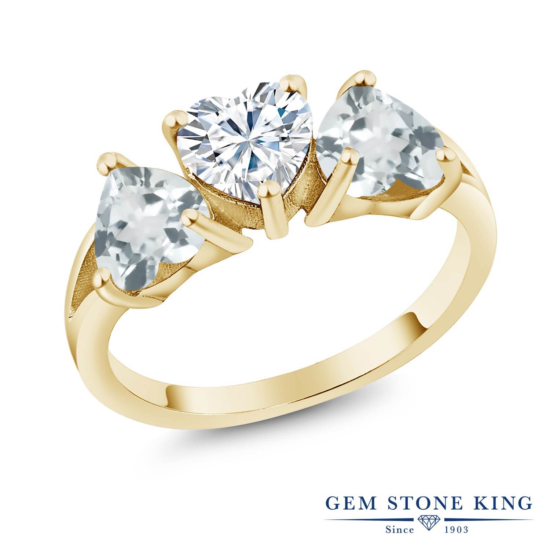 【10%OFF】 Gem Stone King 2.26カラット Forever Brilliant モアサナイト Charles & Colvard 天然 アクアマリン 指輪 リング レディース シルバー925 イエローゴールド 加工 モアッサナイト シンプル スリーストーン クリスマスプレゼント 女性 彼女 妻 誕生日