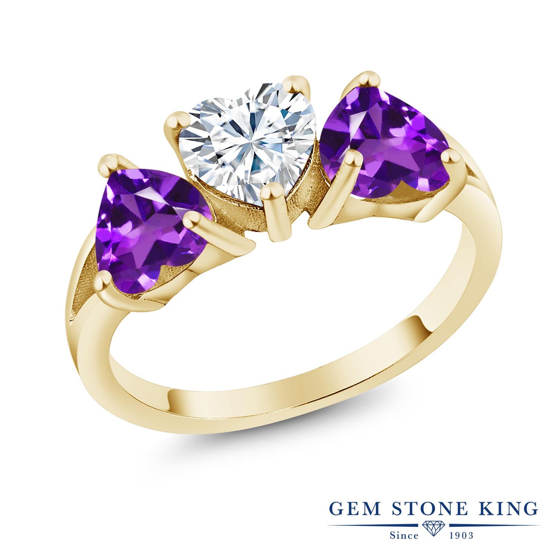 Gem Stone King 2.4カラット Forever Brilliant モアサナイト Charles & Colvard 天然 アメジスト シルバー925 イエローゴールドコーティング 指輪 リング レディース モアッサナイト シンプル スリーストーン 金属アレルギー対応 誕生日プレゼント