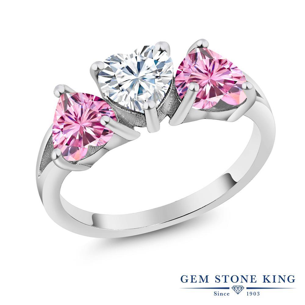 【10%OFF】 Gem Stone King 2.4カラット Forever Brilliant モアサナイト Charles & Colvard 指輪 リング レディース シルバー925 モアッサナイト シンプル スリーストーン クリスマスプレゼント 女性 彼女 妻 誕生日
