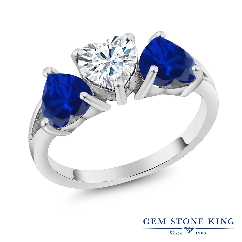 Gem Stone King 2.4カラット Forever Brilliant モアサナイト Charles & Colvard シミュレイテッド サファイア シルバー925 指輪 リング レディース モアッサナイト シンプル スリーストーン 金属アレルギー対応 誕生日プレゼント