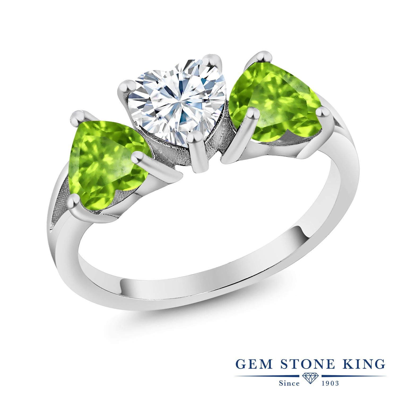 Gem Stone King 2.33カラット Forever Brilliant モアサナイト Charles & Colvard 天然石 ペリドット シルバー925 指輪 リング レディース モアッサナイト シンプル スリーストーン 金属アレルギー対応 誕生日プレゼント