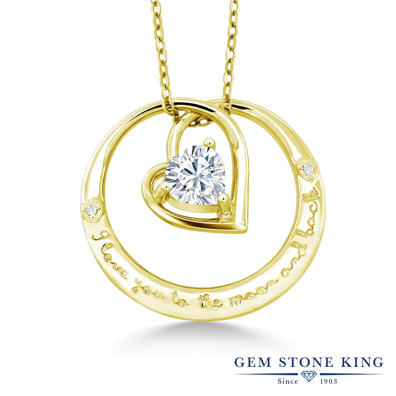 Gem Stone King 0.81カラット Forever Brilliant モアサナイト Charles & Colvard 天然 ダイヤモンド シルバー925 イエローゴールドコーティング ネックレス ペンダント レディース モアッサナイト シンプル 金属アレルギー対応 誕生日プレゼント