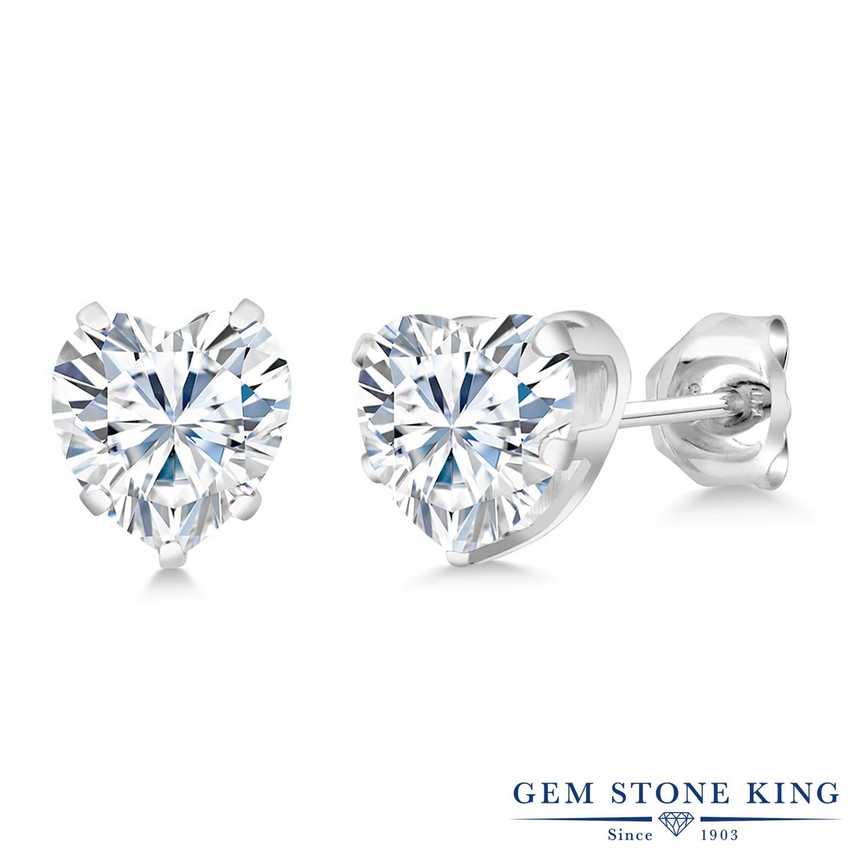 Gem Stone King 1.6カラット Forever Brilliant モアサナイト Charles & Colvard シルバー925 ピアス レディース モアッサナイト シンプル スタッド 金属アレルギー対応 誕生日プレゼント