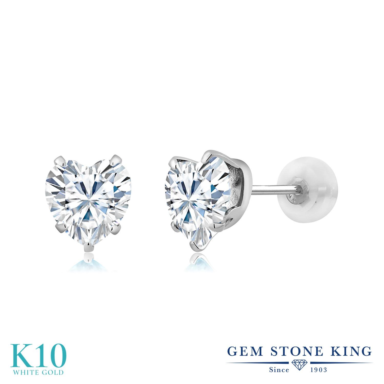 Gem Stone King 1.6カラット Forever Brilliant モアサナイト Charles & Colvard 10金 ホワイトゴールド(K10) ピアス レディース モアッサナイト シンプル 金属アレルギー対応 誕生日プレゼント