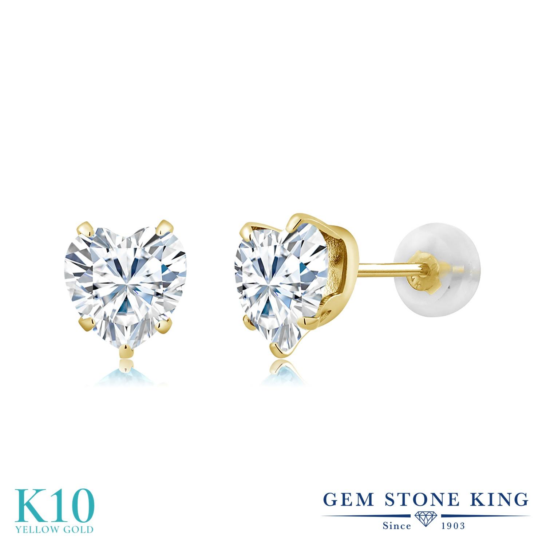 Gem Stone King 1.6カラット Forever Brilliant モアサナイト Charles & Colvard 10金 イエローゴールド(K10) ピアス レディース モアッサナイト シンプル 金属アレルギー対応 誕生日プレゼント