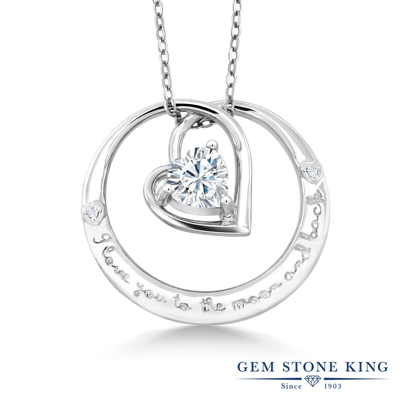 Gem Stone King 0.81カラット Forever Brilliant モアサナイト Charles & Colvard 天然 ダイヤモンド シルバー925 ネックレス ペンダント レディース モアッサナイト シンプル 金属アレルギー対応 誕生日プレゼント
