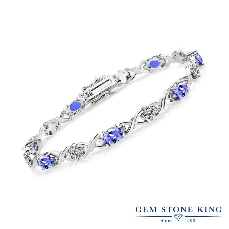 Gem Stone King 3.6カラット 天然石 タンザナイト シルバー925 ブレスレット テニスブレスレット レディース 小粒 華奢 細身 12月 誕生石 金属アレルギー対応 誕生日プレゼント