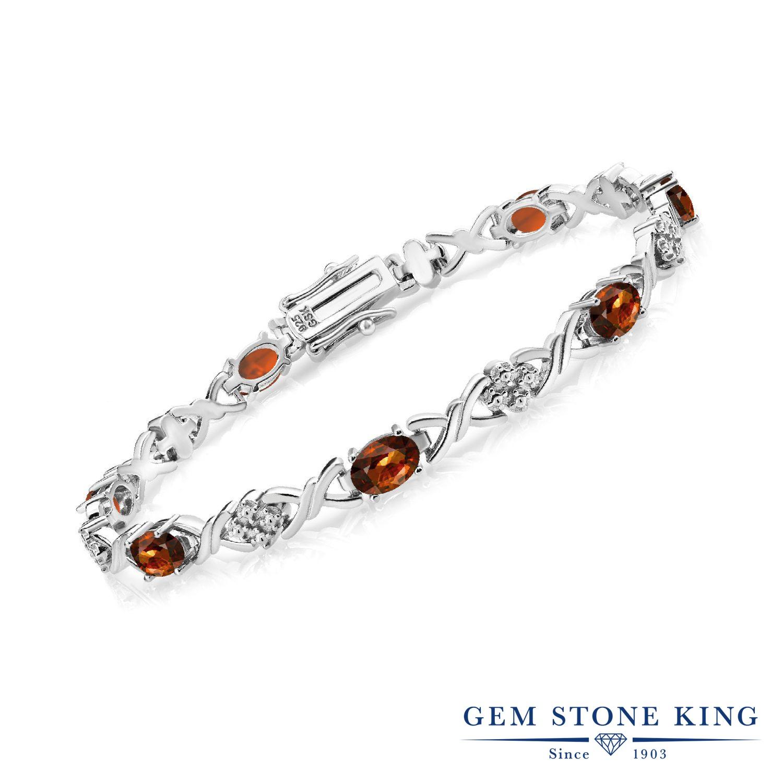 Gem Stone King 6.6カラット 天然石 ジルコン (ブラウン) シルバー925 ブレスレット テニスブレスレット レディース 金属アレルギー対応 誕生日プレゼント