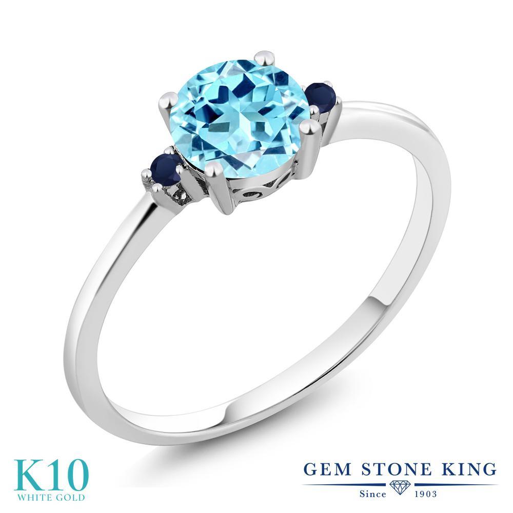 Gem Stone King 0.85カラット 天然 アパタイト 天然 サファイア 10金 ホワイトゴールド(K10) 指輪 リング レディース シンプル ソリティア 天然石 金属アレルギー対応 誕生日プレゼント