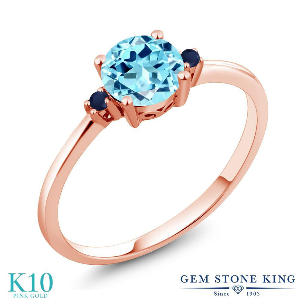Gem Stone King 0.85カラット 天然 アパタイト 天然 サファイア 10金 ピンクゴールド(K10) 指輪 リング レディース シンプル ソリティア 天然石 金属アレルギー対応 誕生日プレゼント