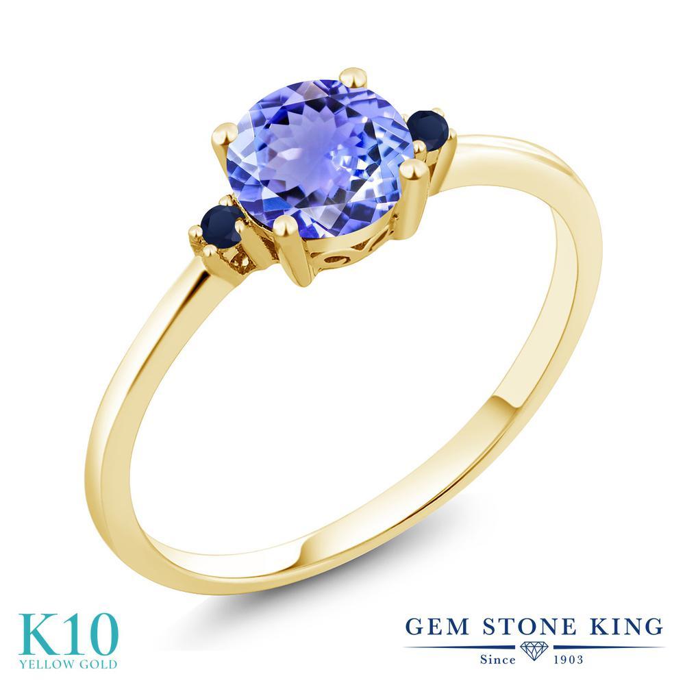 Gem Stone King 0.93カラット 天然石 タンザナイト 天然 サファイア 10金 イエローゴールド(K10) 指輪 リング レディース シンプル ソリティア 12月 誕生石 金属アレルギー対応 誕生日プレゼント