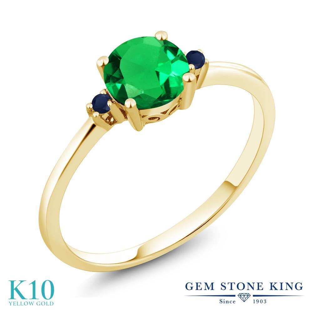 Gem Stone King 0.8カラット ナノエメラルド 天然 サファイア 10金 イエローゴールド(K10) 指輪 リング レディース シンプル ソリティア 金属アレルギー対応 誕生日プレゼント