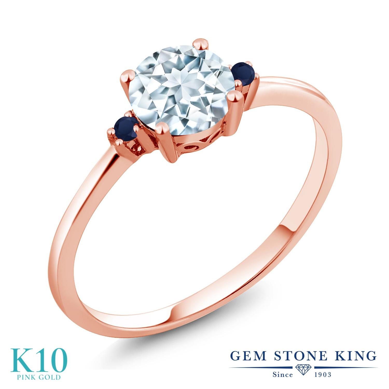 Gem Stone King 0.78カラット 天然 アクアマリン 天然 サファイア 10金 ピンクゴールド(K10) 指輪 リング レディース シンプル ソリティア 天然石 3月 誕生石 金属アレルギー対応 誕生日プレゼント