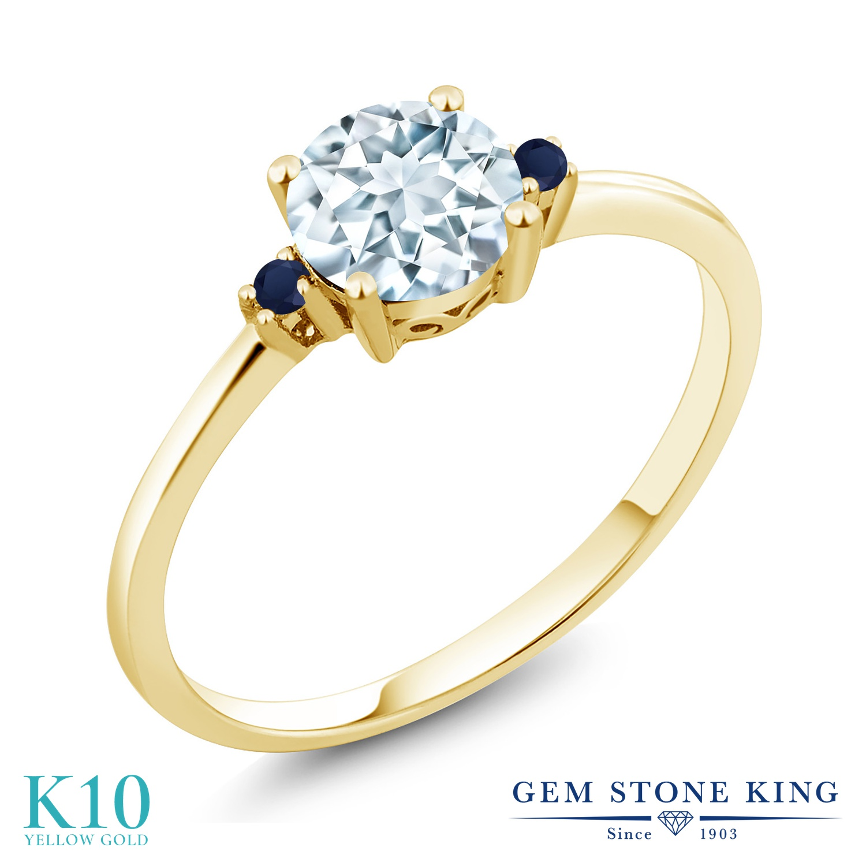 Gem Stone King 0.78カラット 天然 アクアマリン 天然 サファイア 10金 イエローゴールド(K10) 指輪 リング レディース シンプル ソリティア 天然石 3月 誕生石 金属アレルギー対応 誕生日プレゼント