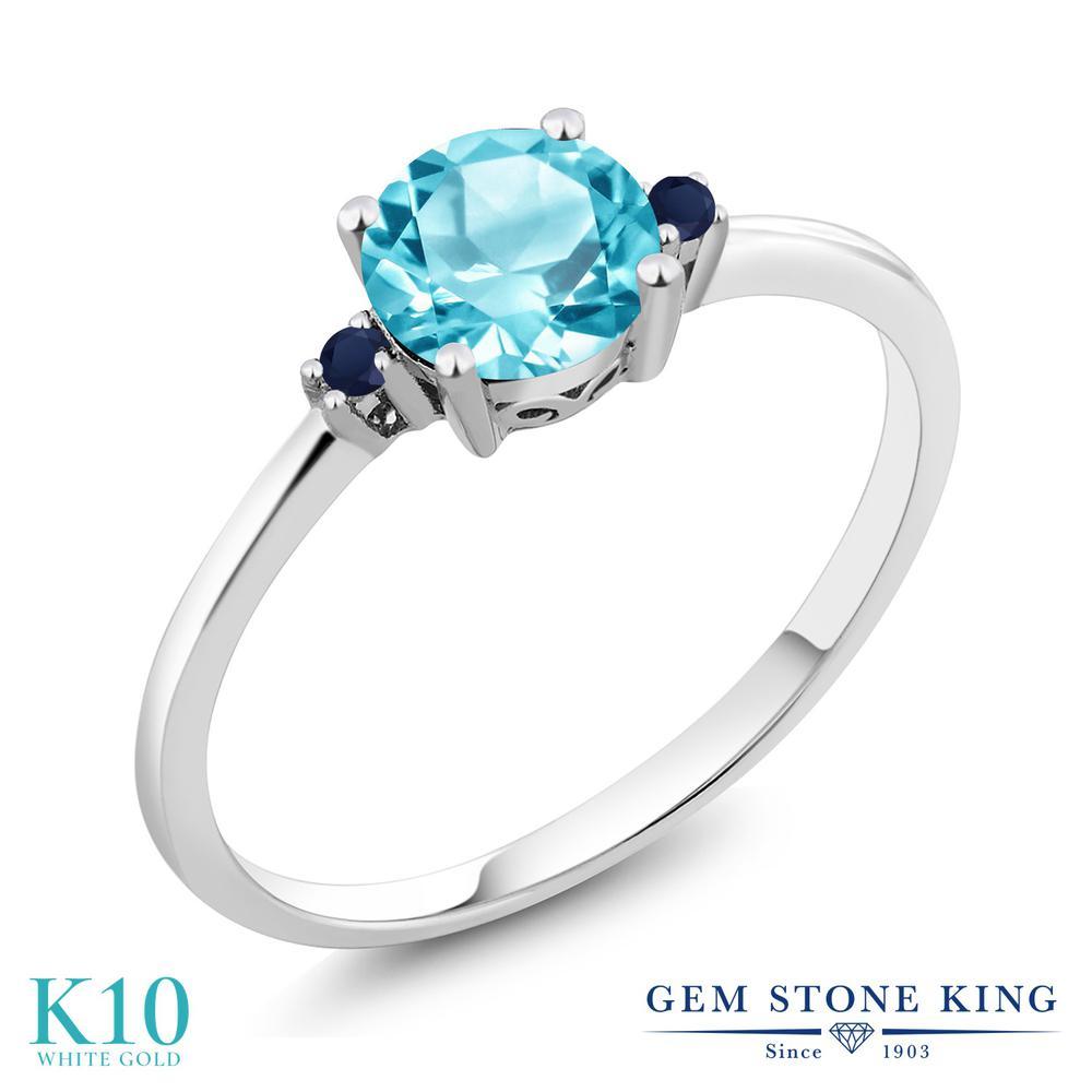 【10%OFF】 Gem Stone King 1.03カラット 天然 スイスブルートパーズ サファイア 指輪 リング レディース 10金 ホワイトゴールド K10 大粒 シンプル ソリティア 天然石 11月 誕生石 クリスマスプレゼント 女性 彼女 妻 誕生日