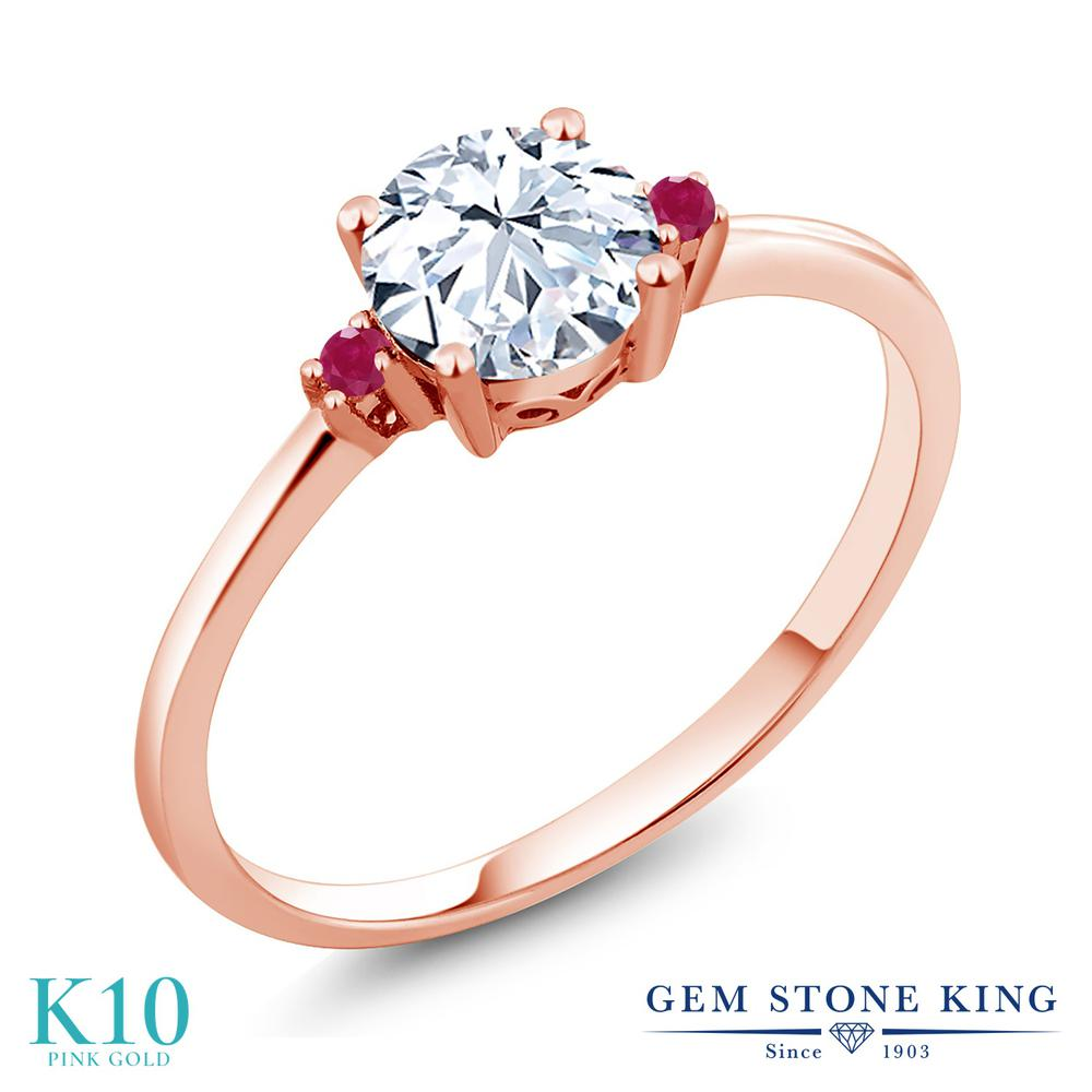 Gem Stone King 1.03カラット 合成ホワイトサファイア (ダイヤのような無色透明) 天然 ルビー 10金 ピンクゴールド(K10) 指輪 リング レディース 大粒 シンプル ソリティア 金属アレルギー対応 誕生日プレゼント