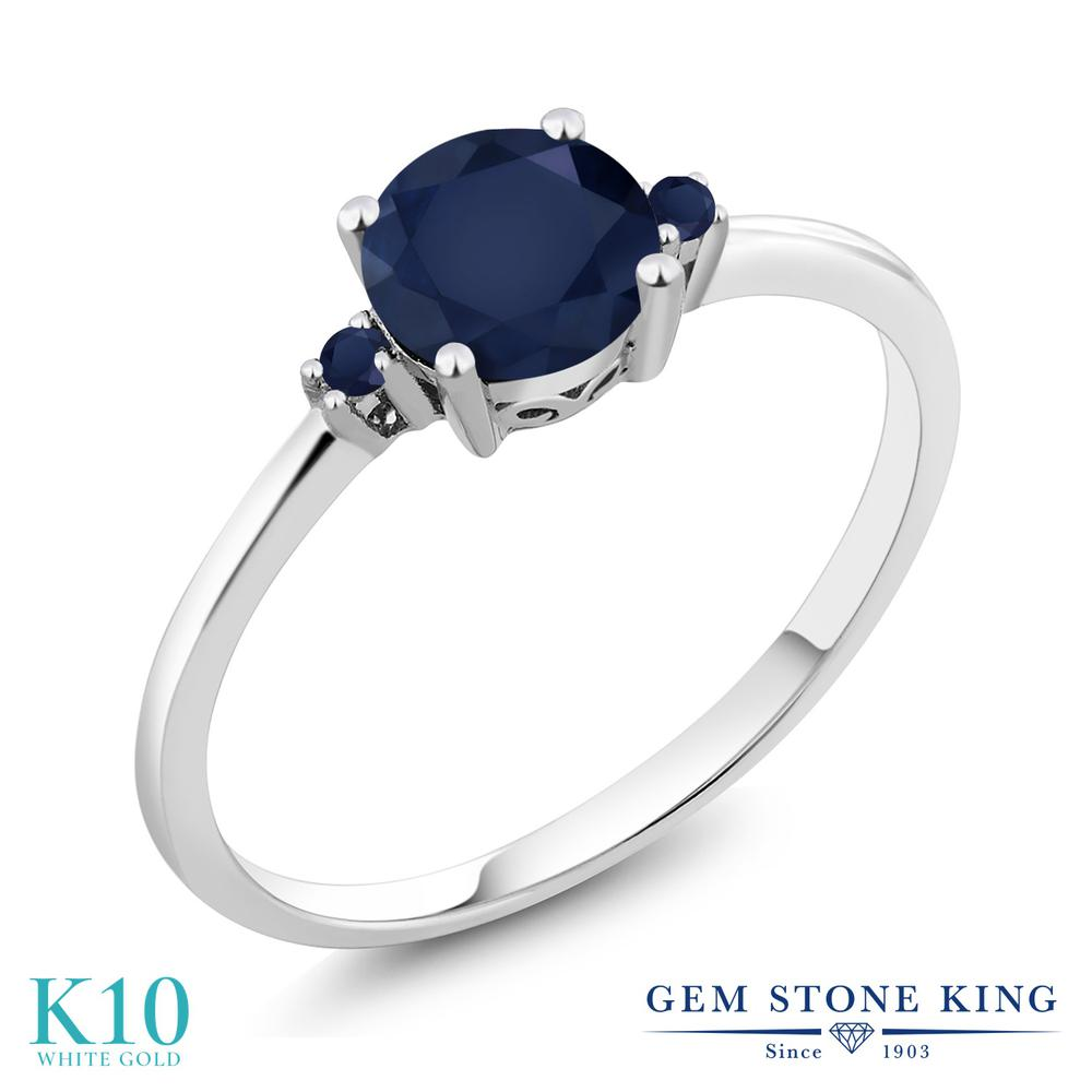 Gem Stone King 1.13カラット 天然 サファイア 10金 ホワイトゴールド(K10) 指輪 リング レディース 大粒 シンプル ソリティア 天然石 9月 誕生石 金属アレルギー対応 誕生日プレゼント