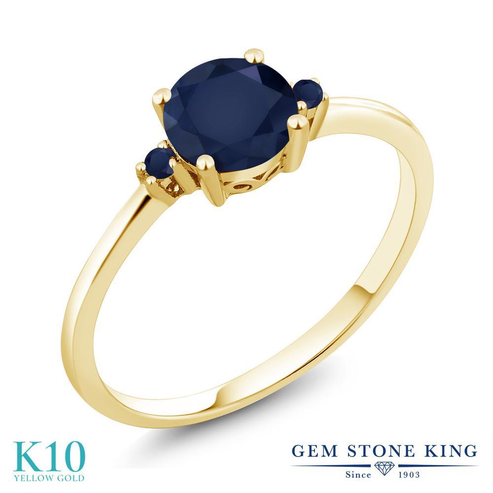 【10%OFF】 Gem Stone King 1.13カラット 天然 サファイア 指輪 リング レディース 10金 イエローゴールド K10 大粒 シンプル ソリティア 天然石 9月 誕生石 クリスマスプレゼント 女性 彼女 妻 誕生日