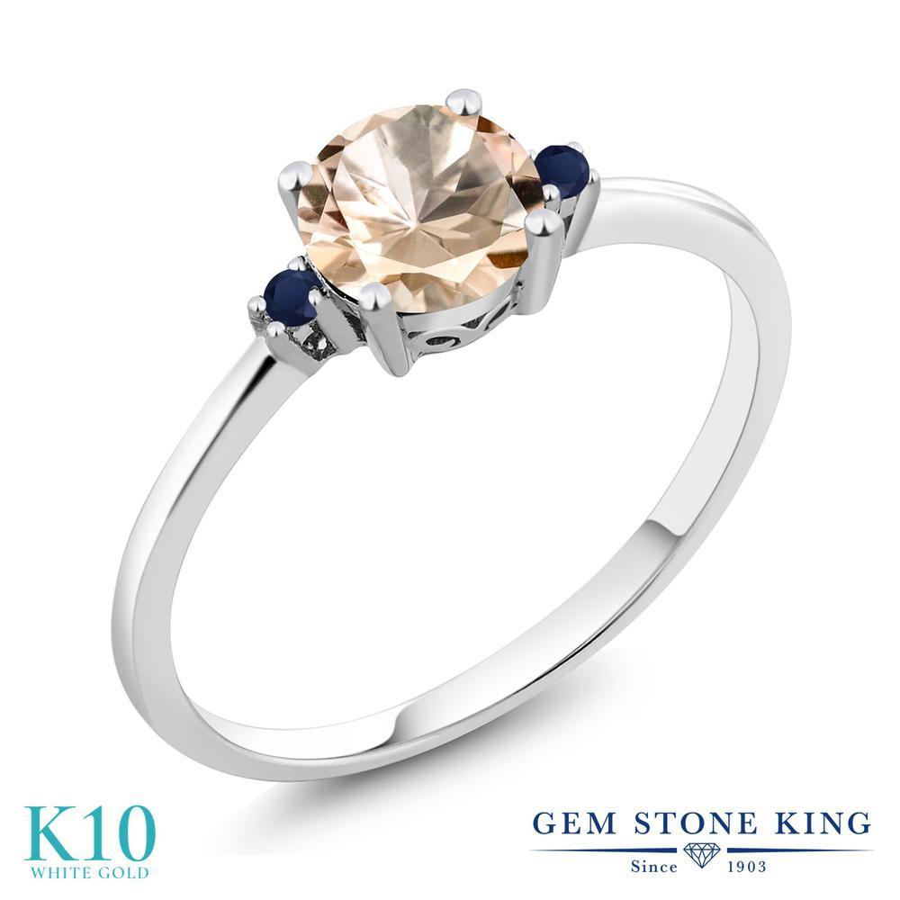 Gem Stone King 0.63カラット 天然 モルガナイト (ピーチ) 天然 サファイア 10金 ホワイトゴールド(K10) 指輪 リング レディース シンプル ソリティア 天然石 3月 誕生石 金属アレルギー対応 誕生日プレゼント