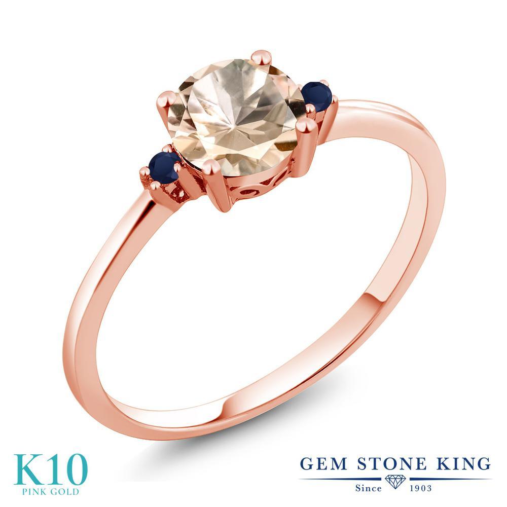 Gem Stone King 0.63カラット 天然 モルガナイト (ピーチ) 天然 サファイア 10金 ピンクゴールド(K10) 指輪 リング レディース シンプル ソリティア 天然石 3月 誕生石 金属アレルギー対応 誕生日プレゼント