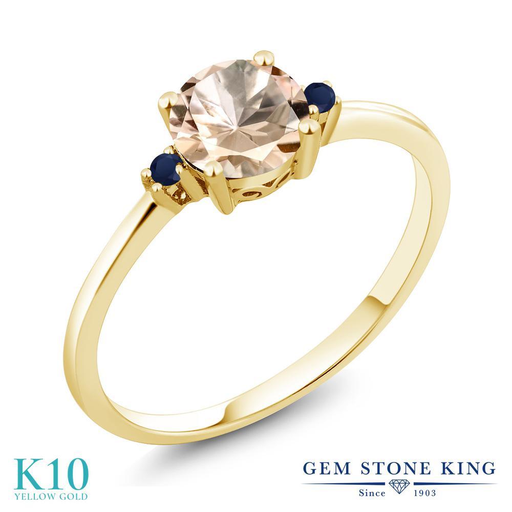 Gem Stone King 0.63カラット 天然 モルガナイト (ピーチ) 天然 サファイア 10金 イエローゴールド(K10) 指輪 リング レディース シンプル ソリティア 天然石 3月 誕生石 金属アレルギー対応 誕生日プレゼント
